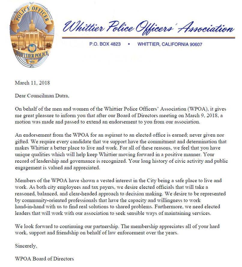 Whittier Police Officers Association Endorsement